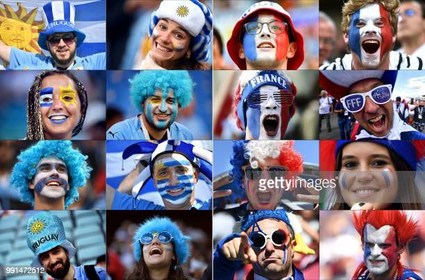 TOPSHOT This combination of photos created on July 4 2018 shows fans of Uruguay and France supporting their team during the Russia 2018 World Cup...