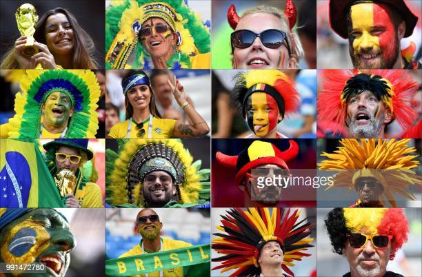 TOPSHOT This combination of photos created on July 4 2018 shows fans of Brazil and Belgium supporting their team during the Russia 2018 World Cup...