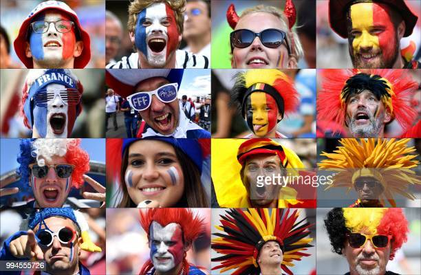 TOPSHOT This combination of photos created on July 9 2018 shows France and Belgium's fans supporting their team during the Russia 2018 World Cup...
