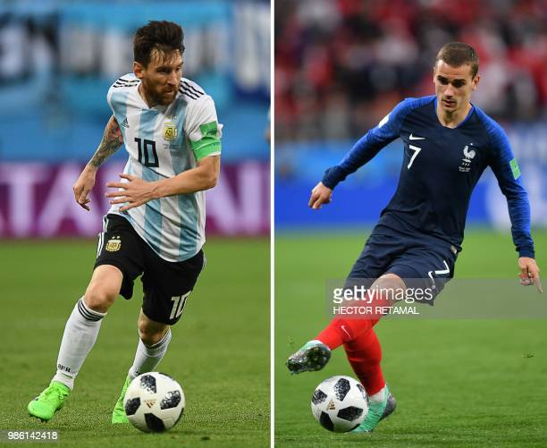 This combination of photos created on June 28 2018 shows Argentina's forward Lionel Messi in Saint Petersburg on June 26 2018 and France's forward...