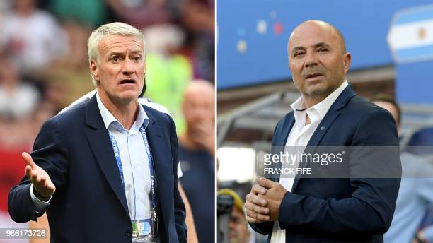 This combination of photos created on June 28 2018 shows France's coach Didier Deschamps in Moscow on June 26 2018 and Argentina's coach Jorge...