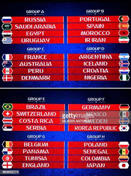 This combination of photos made on December 1 shows the groups as they are displayed on a screen during the Final Draw for the 2018 FIFA World Cup...