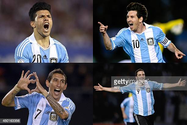 This combination of photos made on June 6 2014 in Paris shows Argentina's forward Sergio Aguero in Asuncion Paraguay on September 10 Argentina's...