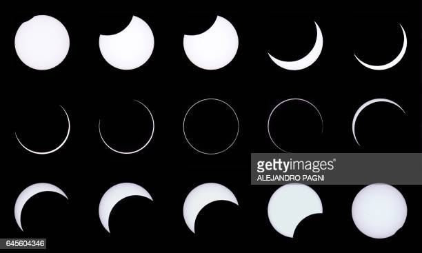 This combination of photos shows an annular solar eclipse as seen from the Estancia El Muster near Sarmiento Chubut province 1600 kilometres south of...
