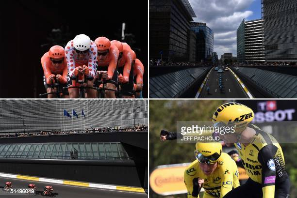 This combination of photos taken during compete in the second stage of the 106th edition of the Tour de France cycling race a 276km team timetrial in...