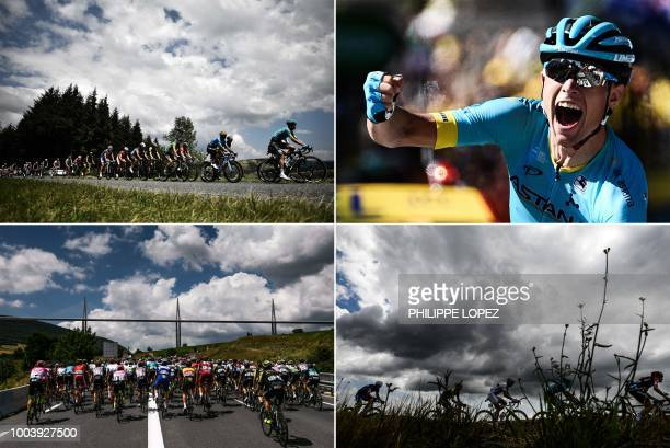 This combination of photos taken during the 15th stage of the 105th edition of the Tour de France cycling race, between Millau and Carcassonne on...