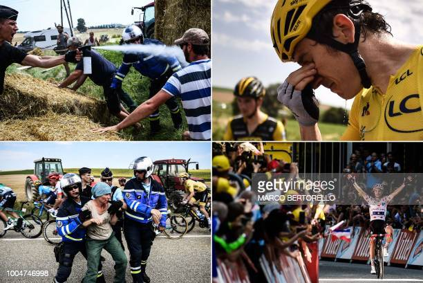 This combination of photos taken during the 16th stage of the 105th edition of the Tour de France cycling race between Carcassonne and...