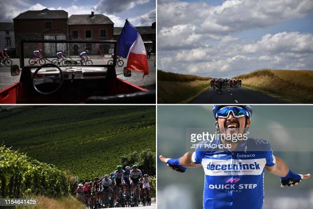 This combination of photos taken during the third stage of the 106th edition of the Tour de France cycling race between Binche and Epernay Belgium on...