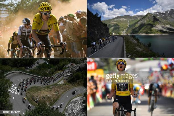 This combination of photos taken during the twelfth stage of the 105th edition of the Tour de France cycling race between BourgSaintMaurice Les Arcs...