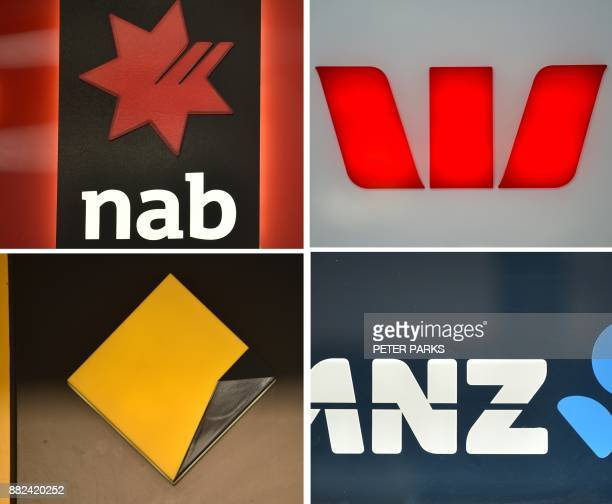 This combination of photos taken in Sydney on November 30 2017 show the signs of the big four Australian banks National Australia Bank NAB Westpac...