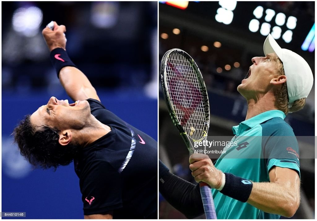 TOPSHOT - This combination of photos taken on September 8, 2017 shows Spain's Rafael Nadal (L) and South Africa's Kevin Anderson celebrating after winning their 2017 US Open Men's Singles Semifinals matches at the USTA Billie Jean King National Tennis Center in New York. World number one Rafael Nadal powered into his 23rd career Grand Slam final on Friday, routing Argentina's 24th-seeded Juan Martin del Potro 4-6, 6-0, 6-3, 6-2 at the US Open. / AFP PHOTO / Jewel SAMAD AND Don EMMERT