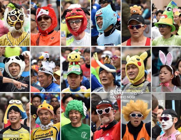 This combination of picture shows runners wearing various costumes and caps during the Tokyo Marathon in Tokyo on February 25 2018 / AFP PHOTO /...