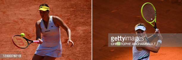 This combination of pictures created and taken on June 10, 2021 on Day 12 of The Roland Garros 2021 French Open tennis tournament in Paris, shows...
