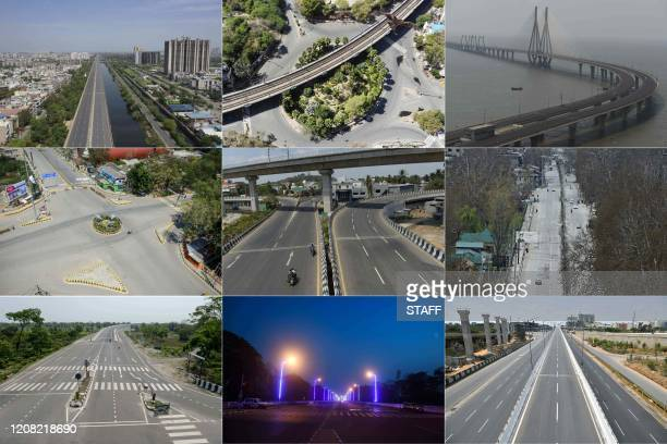 This combination of pictures created and taken on March 25 shows deserted streets in Ghaziabad New Delhi Mumbai Allahabad Chennai Kashmir Siliguri...