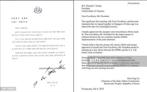 This combination of pictures created July 12 2018 shows the letter dated July 6 2018 from North Korea's leader Kim Jong Un to US President Donald...