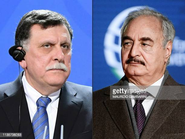 This combination of pictures created on April 08 2019 shows Libya's Prime Minister Fayez alSarraj attending a press conference at the Chancellery in...
