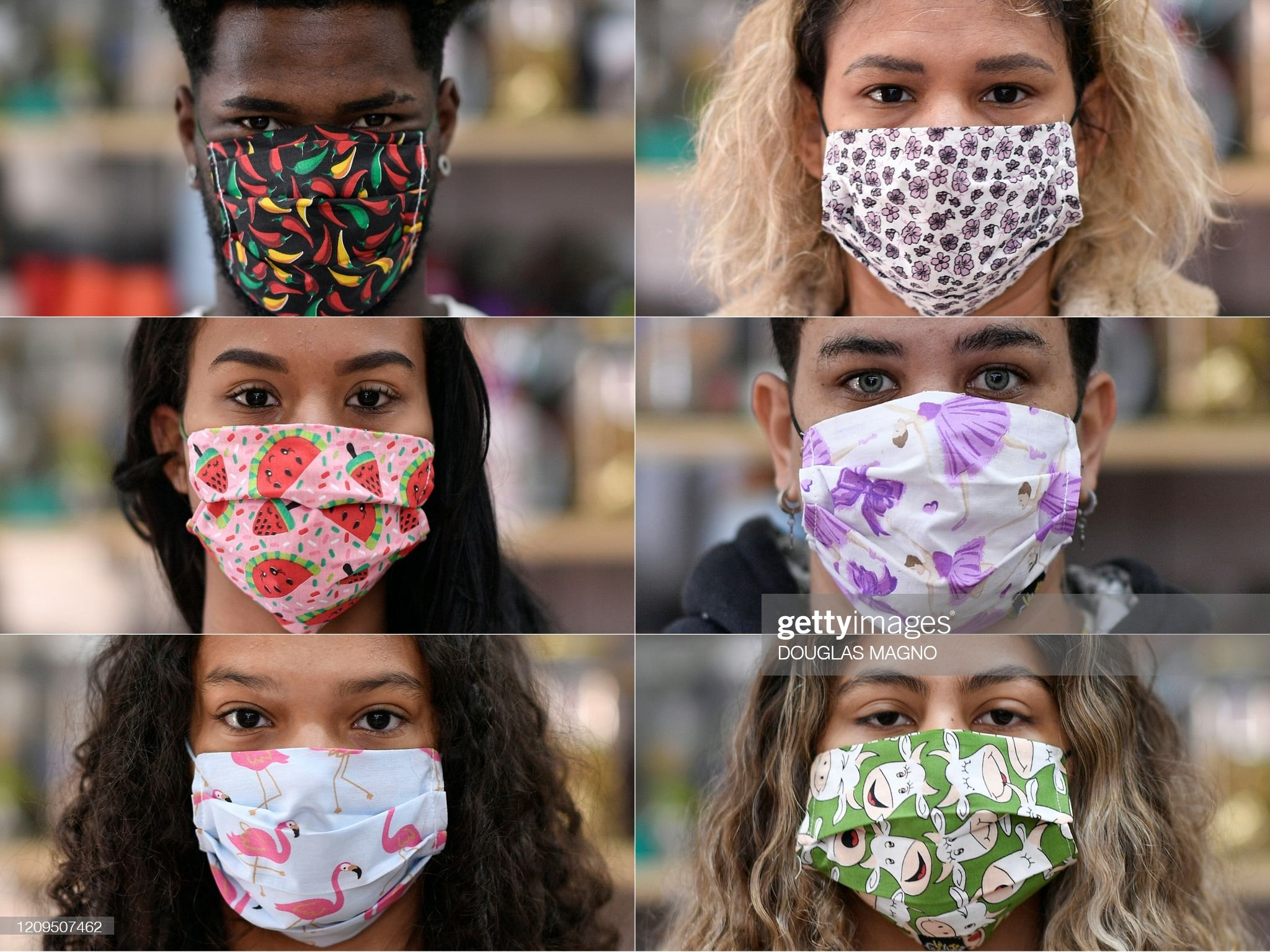 Mixed grid of six people wearing colorful masks