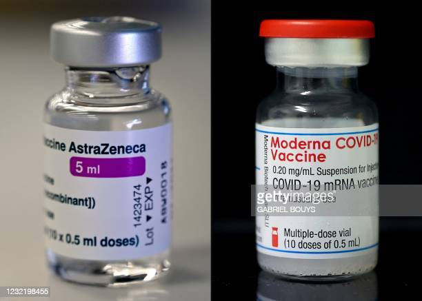 This combination of pictures created on April 09, 2021 shows a photo taken on March 24, 2021 in Madrid of a vial of the AstraZeneca/Oxford vaccine...