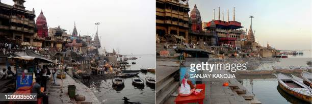 This combination of pictures created on April 15 shows a general view of India's largest cremation site Manikarnika Ghat on the banks of the Ganges...