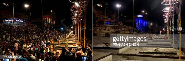 This combination of pictures created on April 15 shows pilgrims attending evening prayer at the Dashashwamedh Ghat on the banks of the Ganges river...