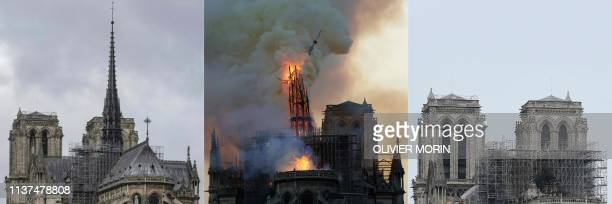 This combination of pictures created on April 16 shows a view of Notre-Dame Cathedral's steeple and spire taken on December 9 and the same view as it...