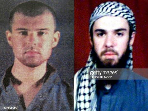 This combination of pictures created on April 17 2019 shows at left a police file photo made available February 6 2002 of the American Taliban John...