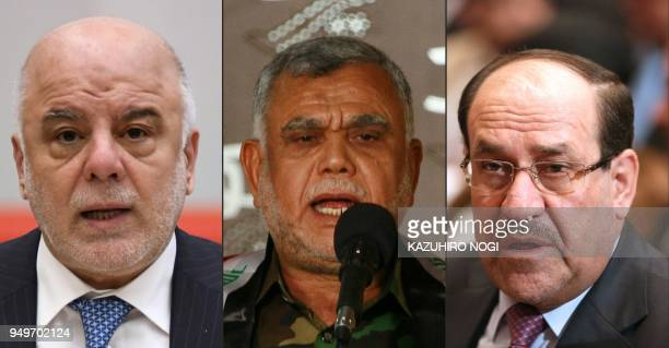 This combination of pictures created on April 21 2018 shows Iraq's Prime Minister Haider alAbadi delivering a speech in Tokyo on April 5 and Hadi...