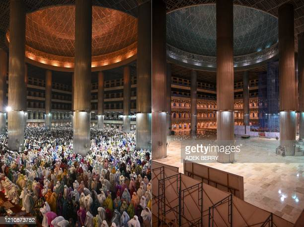 TOPSHOT This combination of pictures created on April 24 shows Muslim devotees praying on the first night of the holy month of Ramadan at the...
