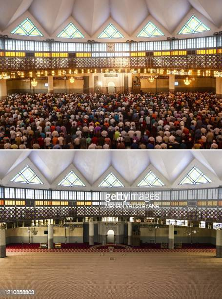 This combination of pictures created on April 24 shows Muslim devotees praying during the Friday Noon prayer on the first day of the holy month of...