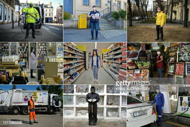 This combination of pictures created on April 26 2020 during the COVID19 coronavirus pandemic shows British Robin Barclay cleaning contractor posing...