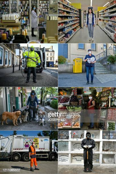This combination of pictures created on April 26 2020 during the COVID19 coronavirus pandemic shows Lebanese Tatiana Rcaiby pharmacist posing for a...