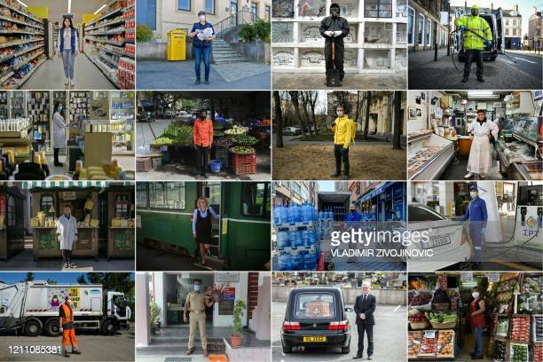 This combination of pictures created on April 26, 2020 during the COVID-19 coronavirus pandemic shows Renata Gajic supermarket employee, posing for a...
