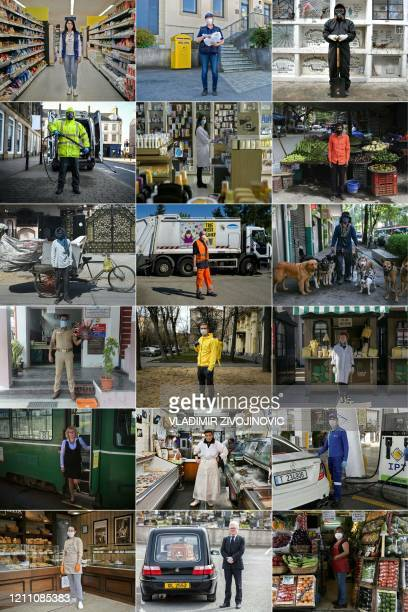 This combination of pictures created on April 26 2020 during the COVID19 coronavirus pandemic shows Renata Gajic supermarket employee posing for a...