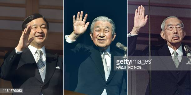This combination of pictures created on April 3 2019 shows Japanese Crown Prince Naruhito on January 2 Japan's Emperor Akihito on January 2 2019 and...