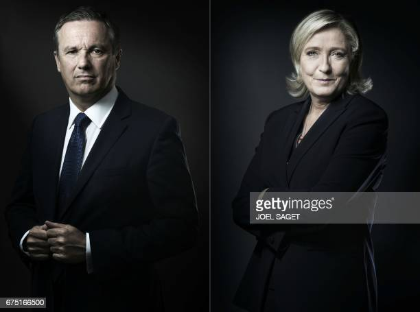 This combination of pictures created on April 30 2017 shows President of French political party Debout la France Nicolas DupontAignan posing in Paris...