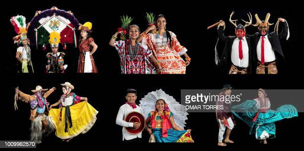 This combination of pictures created on August 02 2018 shows Nizarindani Ruiz Waldo Vazquez and Nayely Chacon Itzel Suarez and Angnel Perez Andrade...