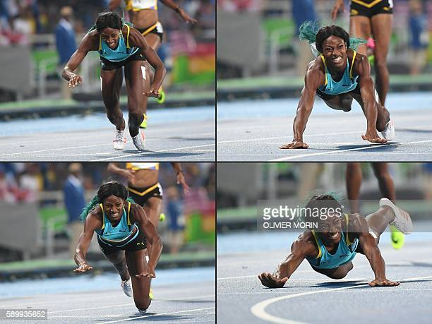 This combination of pictures created on August 15, 2016 shows Bahamas's Shaunae Miller diving to cross the finish line to win the Women's 400m Final...