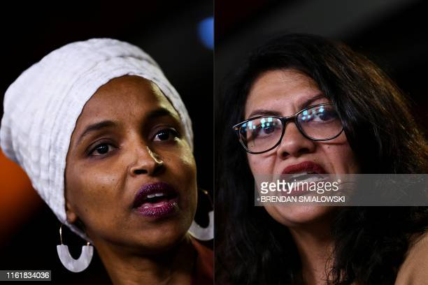 This combination of pictures created on August 15 2019 shows Democrat US Representatives Ilhan Abdullahi Omar and Rashida Tlaib during a press...