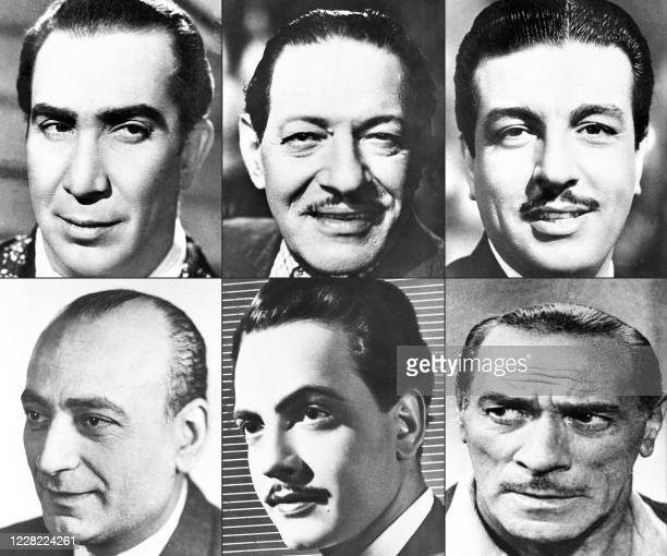 This combination of pictures created on August 27 2020 shows a 1930s portrait of prominent Egyptian theatre and cinema actor Youssef Wahbi a 1940s...
