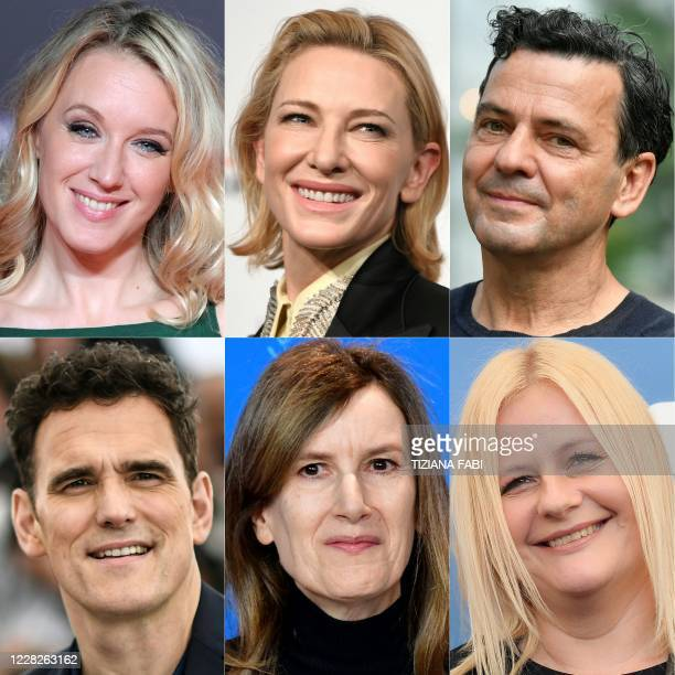 This combination of pictures created on August 30 2020 shows 6 of the 7 jury members of the upcoming 77th Venice Film Festival Jury President...