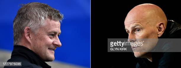 This combination of pictures created on August 9, 2020 shows Manchester United's Norwegian manager Ole Gunnar Solskjaer pictured ahead of the English...
