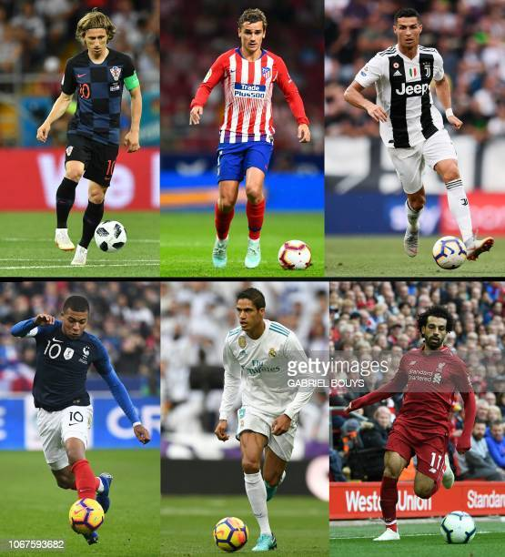 This combination of pictures created on December 01 2018 shows Croatia's midfielder Luka Modric during the Russia 2018 World Cup football match...