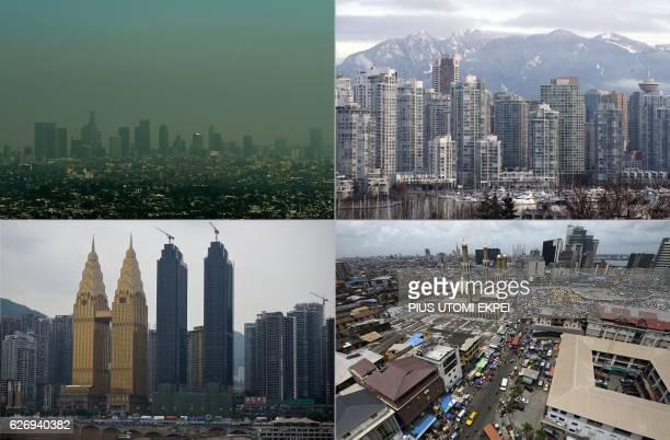 This combination of pictures created on December 1 2016 shows a view of the Los Angeles city skyline as heavy smog shrouding the city in California...
