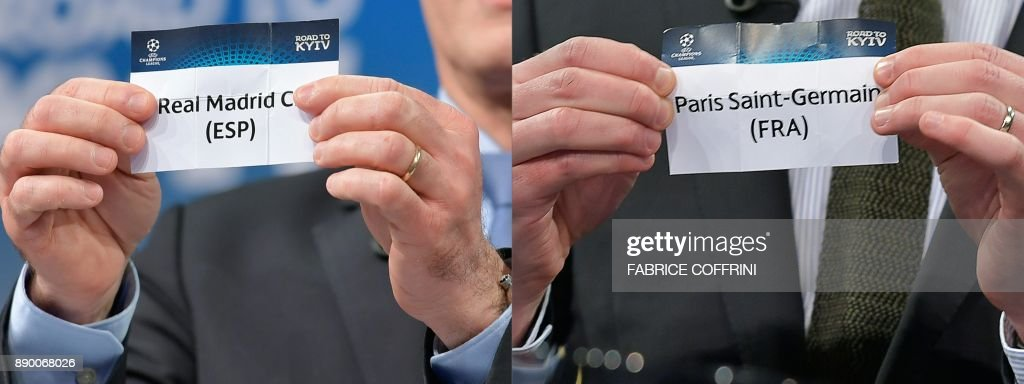This combination of pictures created on December 11, 2017 shows the slips of Real Madrid (L) and Paris Saint-Germain during the draw for the round of 16 of the UEFA Champions League football tournament at the UEFA headquarters in Nyon on December 11, 2017. PHOTO / Fabrice COFFRINI
