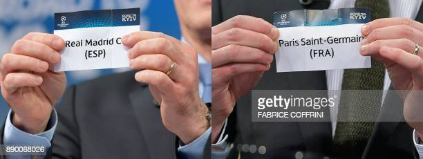 This combination of pictures created on December 11 2017 shows the slips of Real Madrid and Paris SaintGermain during the draw for the round of 16 of...