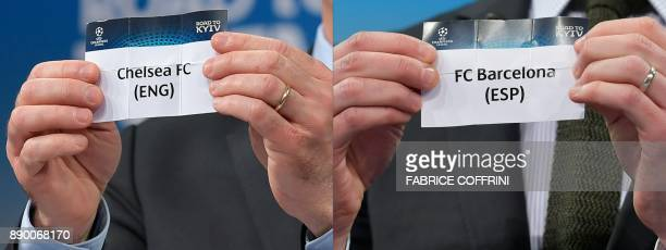 This combination of pictures created on December 11 2017 shows the slips of Chelsea FC and FC Barcelona during the draw for the round of 16 of the...