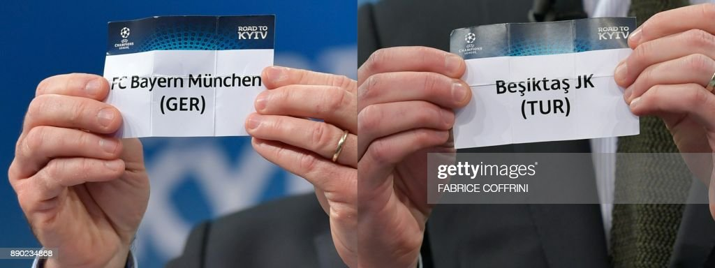 This combination of pictures created on December 11, 2017 shows the slips of Bayern Munich (L) and Besiktas JK during the draw for the round of 16 of the UEFA Champions League football tournament at the UEFA headquarters in Nyon on December 11, 2017. PHOTO / Fabrice COFFRINI