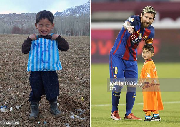 TOPSHOT This combination of pictures created on December 14 2016 in Paris shows then fiveyearold Afghan boy and Lionel Messi fan Murtaza Ahmadi...