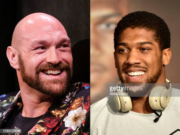 This combination of pictures created on December 14, 2020 shows Boxer Tyson Fury during a press conference in Los Angeles, California on January 25...