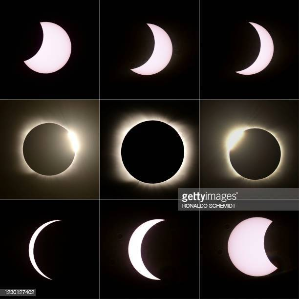 This combination of pictures created on December 14, 2020 shows the different stages of the total solar eclipse as seen from Piedra del Aquila,...
